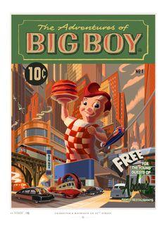 Cool Art: 'Big Boy' by Laurent Durieux Retro Advertising, Vintage Advertisements, Laurent Durieux, Big Boy Restaurants, Pop Culture Art, Retro Futuristic, Alternative Movie Posters, Illustrations, Comic Book Covers