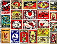 Matchbox Art. A great set of vintage matchbox labels and matchbook covers. Some of these are primitive hand drawn labels from Asia and Europe for sale in North American markets. Others are of a more contemporary design but are themselves very old. But all of them are bright, vibrant, fun & even whimsical. Some are in near mint condition and others are heavily worn with age and use. These tag sized match box labels will come in handy for all sorts of projects. Each one is unique with a hug...