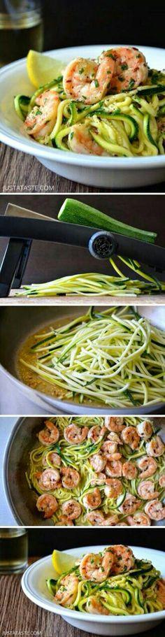 Spaguettis de zapallito con camarón