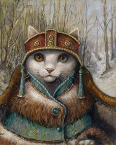Large giclee of Katenka, gallery wrapped with inch black edges. Limited edition of only 100 prints, signed and numbered with a certificate of authenticity. Can be hung as is or framed for a more traditional look. Costume Chat, Cat Costumes, Gatos Cats, Cat People, Illustrations, Illustration Art, Crazy Cats, Cool Cats, Cat Art