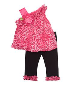 Another great find on #zulily! Fuchsia Cheetah Asymmetrical Tunic & Leggings - Girls #zulilyfinds