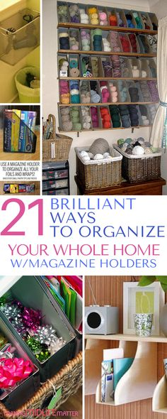 You can literally organize every area of your home with magazine holders. And the fact that you can buy them at the dollar store is a bonus. Here are 21 ideas to get you started. Office Organization Tips, Kitchen Organization, Storage Organization, Organizing Ideas, Bedroom Organization, Organizing Shoes, Office Storage, Office Ideas, Office Decor