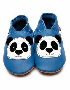 Blue baby shoes with panda - Inch Blue