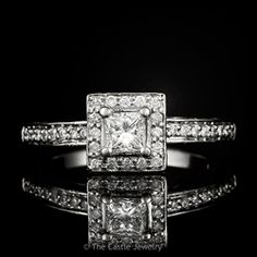Princess Cut Engagement Ring with Diamond Halo