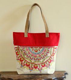 Caravan Tote: two interior slip pockets + exterior zip, riveted leather handles, snap closure at top Tote Handbags, Purses And Handbags, Tote Bags, Calla, Diy Handbag, Embroidered Bag, Tote Pattern, Fabric Bags, Beautiful Bags