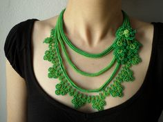 New to irregularexpressions on Etsy: Beaded crochet statement necklace with lime green and shamrock green seed beads and crocheted flowers (178.00 USD)