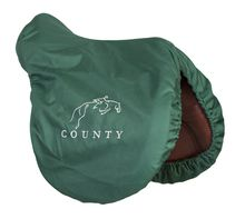 Jumping Logo - Forest Green - Water Resistant - Fleece Lined  #SADDLES #SADDLECOVER County Saddlery Custom Saddles! Take a Test Ride Today!  http://www.countysaddlery.com/  Call Today! - 877-414-6773  #saddles, #countysaddles, #dressagesaddles, #jumpingsaddles, #eventingsaddles