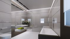 3D Bathroom Architecture Renders. Bathroom Lighting, Bathtub, 3d, Mirror, Architecture, Furniture, Home Decor, Bathroom Light Fittings, Standing Bath