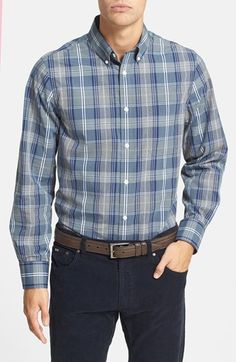 Men's Nordstrom Regular Fit Washed Plaid Sport Shirt