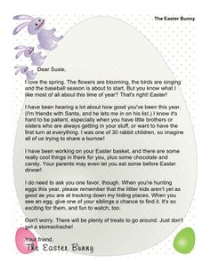 Free Easter Bunny Letter  Easter Bunny Letters