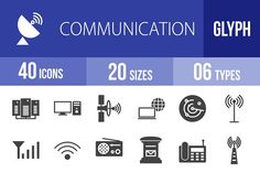 40 Communication Glyph Icons by IconBunny on @creativemarket