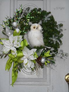 Lux Christmas winter white Owl wreath One-of-a-kind Holiday door decoration