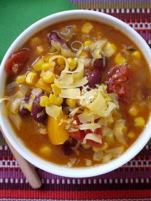 Crock Pot Mexican Corn and Bean Soup - super healthy, loaded with veggies, easy to make and delicious.  Great find!