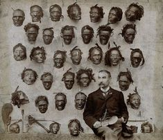 Major General Horatio Gordon Robley with his collection of tattooed Maori heads, 1895.