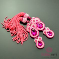 Very Long Pink Fuchsia Tassel Earrings, Pink Boho Earrings, Dangle Soutache Earrings, Long Pink Tassel Earrings, Orecchini Soutache, Clip-on by OzdobyZiemi on Etsy
