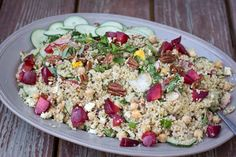 Quinoa salad for a crowd. Use up this seasons best vegetables and fruits!
