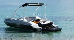 Wave Boat 444 converts a jet-ski into a five-seater boat Wave Boat, Sun Roof, Jet Ski, Mail Online, Daily Mail, Skiing, Waves, Toys, Vehicles