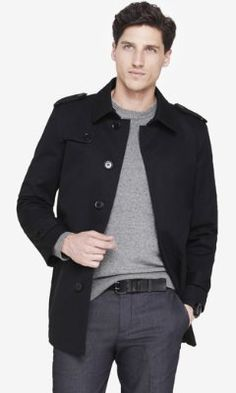 black cotton commuter coat from EXPRESS
