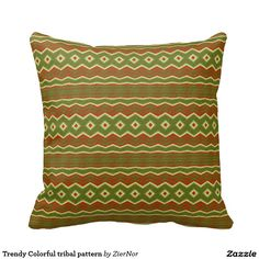 Trendy Colorful tribal pattern Throw Pillows