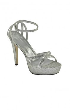 These shoes here are the perfect silver slipper! Silver snakeskin heels with a slight platform!  Great for prom and homecoming! This shoe is designed for comfort with the ankle strap and the toe platform!  4 inches.