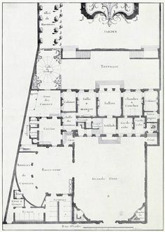 Le Blond's plan for a hôtel particulier on rue d'Enfer, Paris