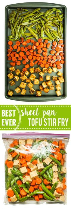 Sheet Pan Tofu Stir Fry - LOVE this recipe for easy dinner and meal prep. Tofu, snap peas, and carrots all on one pan. I like to serve over soba noodles or quinoa! Stir Fry Recipes, Tofu Recipes, Asian Recipes, Healthy Recipes, Cheap Recipes, Fast Recipes, Ww Recipes, Lunch Recipes, Healthy Foods