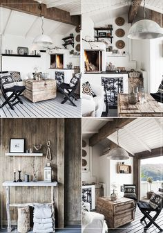 A living room with warm rustic Scandinavian decoration.