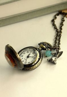 this is so fun! We are Late for Tea. A Rabbit Pocket Watch Necklace