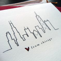 Chicago Skyline Outline Tattoo