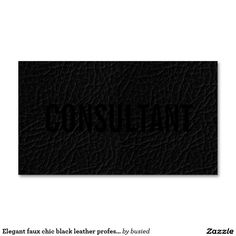 Elegant faux chic black leather professional plain Double-Sided standard business cards (Pack of 100)