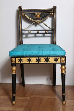 Set of 19th Century Ebonized and Parcel Gilt Egyptian Revival Regency Chairs image 2