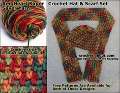25 Terrific Crochet Patterns for Autumn: Variegated Yarn Beanie and Scarf Set