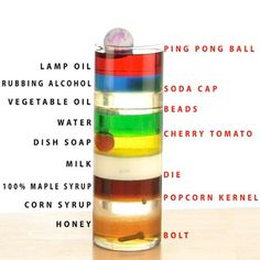 What an awesome decoration: 9 layer density tower: an experiment with states of matter (solids and liquids) - although Lu is way too young to grasp the awesomeness of this, I still love the idea!