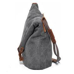 Women Men Canvas Crazy Horse Gray Button Shoulder Bags Cowhide Casual Crossbody Bags - Banggood Mobile