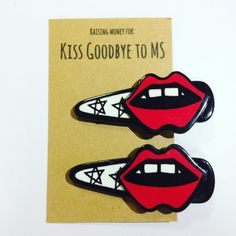Kiss Goodbye to MS fundraising set of 2 Hair Clips Barrettes Fundraising Red Lips