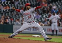 CrowdCam Hot Shot: Cincinnati Reds starting pitcher Johnny Cueto pitches during the first inning against the Houston Astros at Minute Maid Park. Photo by Troy Taormina