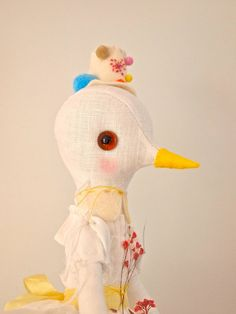 Special commission for Jewoon89 Soft sculpture art doll, white linen bird