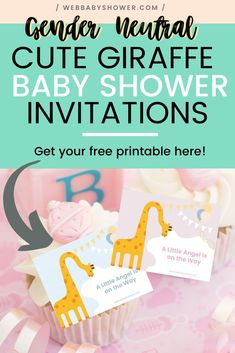 Gender Neutral Cute Giraffe Baby Shower Invitations Why waste your precious time designing baby show Budget Baby Shower, Virtual Baby Shower, Baby Girl Shower Themes, Gender Neutral Baby Shower, Baby Shower Giraffe, Baby Shower Balloons, Printable Baby Shower Invitations, Baby Shower Printables, Baby Shower Activities