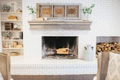 39 Ideas For Farmhouse Style Livingroom Fixer Upper White Fireplace Fireplace Remodel, White Brick, Magnolia Homes, Home, White Brick Fireplace, Farmhouse Fireplace, Kitchen Fireplace, Farmhouse Style Living Room, Rustic House