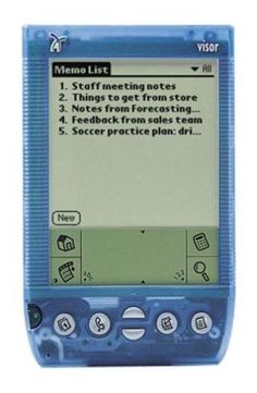 The Handspring Visor wasn't a phone, however it did have an attachment to make it a phone that I was very close to buying.  I did connect it to the internet through a modem one time though