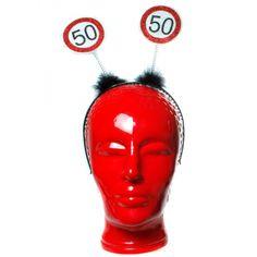 Diadeem 50 jaar  Haarband 50 jaar met verkeersbord print. Een leuke haarband voor bijvoorbeeld een verjaardagsfeest 50 jaar.  EUR 3.75  Meer informatie
