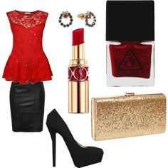 Christmas Eve Mass by alicelilianrose on Polyvore featuring polyvore, fashion, style, Qupid, Natasha Couture, Yves Saint Laurent and 3 Concept Eyes