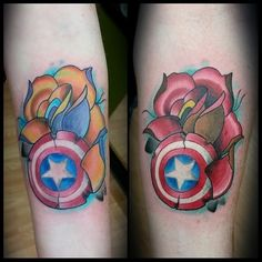 Captain American tattoos by Stephen Monnet. comics newschool color floral arm, Comics,Floral,New School Sibling Tattoos, Sister Tattoos, Couple Tattoos, Captain America Tattoo, Avengers Tattoo, Marvel Tattoos, Forearm Tattoos, Body Art Tattoos, Enough Tattoo
