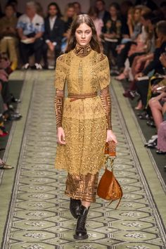 Burberry September 2016 | Old and new simultaneously. Elizabethan and art nouveau patterns and feel. Honey colors warm and old fashioned. Love