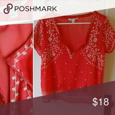 American Eagle Embroidered Top Light and airy coral blouse with cream floral embroidery and tassel detail. Excellent condition. American Eagle Outfitters Tops Blouses