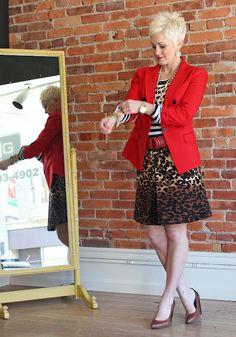 Striped tee. Cheetah skirt. Red jacket.