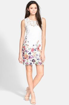 As U Wish Floral Print Lace Shift Dress