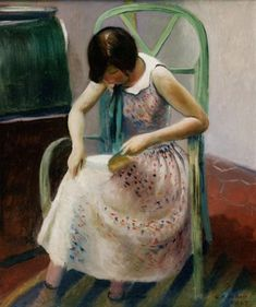 Girl Reading a Book (1929). Guy Pène du Bois (American, 1884–1958).  Du Bois specialised in the culture and society around him: cafes, theatres, and in the twenties, flappers.  In 1899, Du Bois enrolled in the New York School of Art to study under the painter William Merritt Chase. Du Bois worked as an illustrator and cartoonist for the New York American, and later wrote art criticism and was an editor.  In 1940, he published his autobiography, Artists Say the Silliest Things.