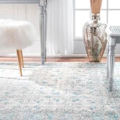 nuLOOM Rio Vintage Aqua 4 ft. x 6 ft. Area Rug-RZBD19A-406 - The Home Depot Aqua Rug, Aqua Area Rug, Farmhouse Area Rugs, Transitional Area Rugs, Synthetic Rugs, Area Rugs For Sale, Machine Made Rugs, Online Home Decor Stores, Wool Area Rugs
