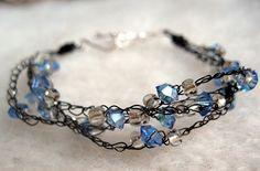 Wire Crochet Bracelet Black Blue by AshevilleHandmade on Etsy,